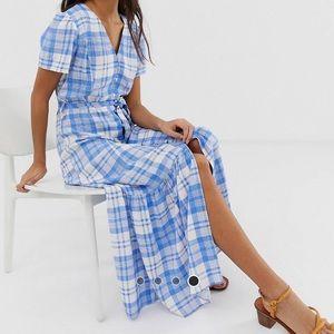 Beautiful Blue Check Midi Dress NW